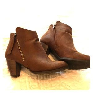 Brown booties with side zipper